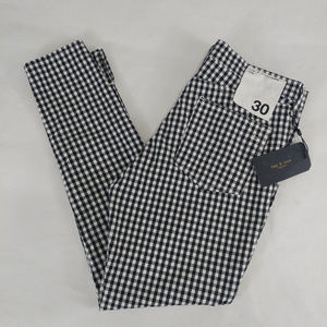 Rag & Bone Jean 10 Inch Capri Size 30 Gingham Pant